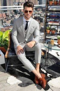 three piece suit dress shirt tassel loafers large