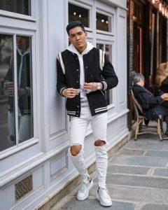 varsity jacket hoodie skinny jeans large