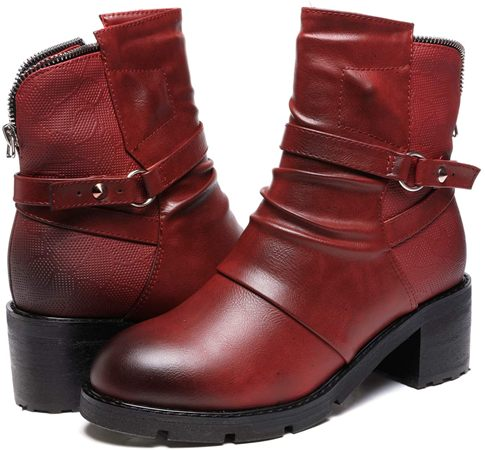 womens red boots high heel