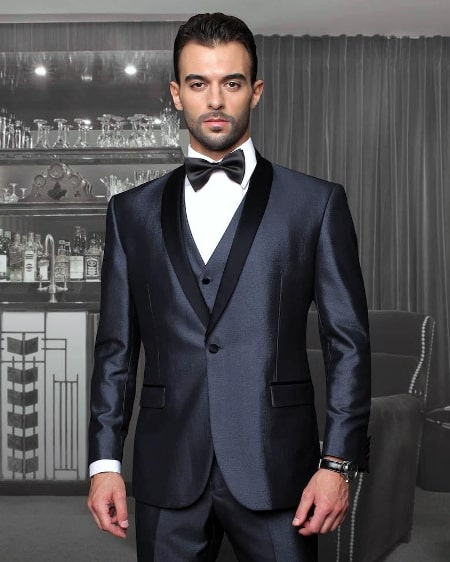 shawl lapel tuxedo black shine
