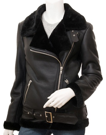 Asymmetrical Leather Shearling Jacket