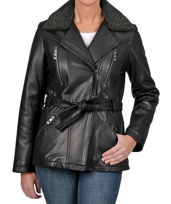 Womens Leather Jacket With Shearling Collar