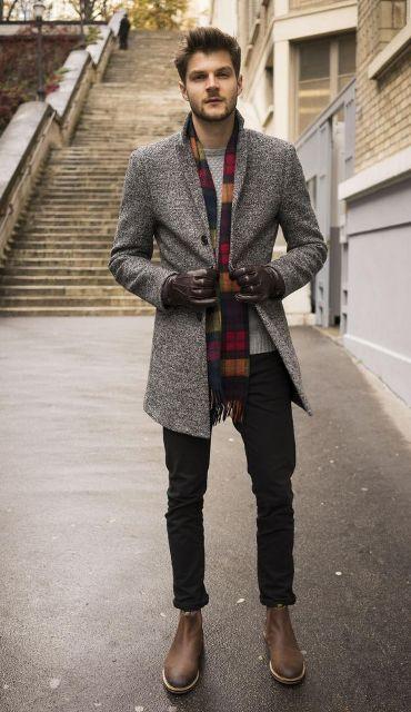 Grey Wool Coat Men