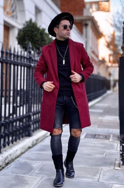 Mend Red Wool Coat