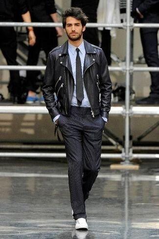 Asymmetrical Leather Jacket Mens