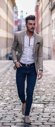 Light Brown Blazer With White Shirt