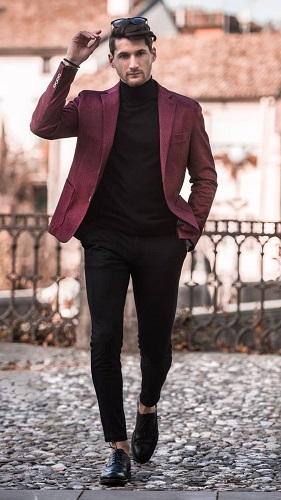 Maroon Blazer With Black Jeans