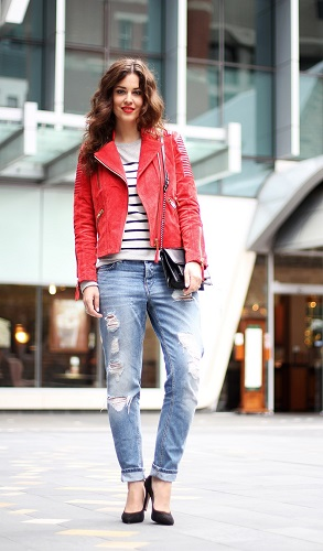 Red Jacket and Boyfriend Jeans
