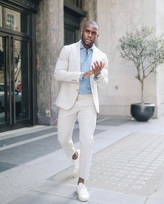 White Casual Suit