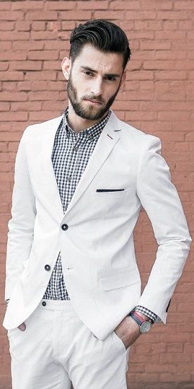 White suit with check shirt