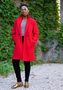 Red Single Breasted Wool Coat