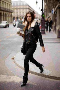 black biker jacket black skinny jeans