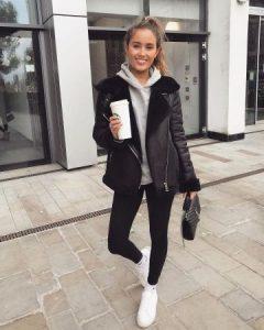 black leather jacket with hoodie