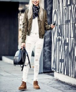 bomber jacket crew neck t shirt skinny jeans large