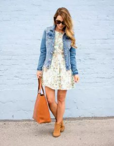 denim jacket fit and flare dress ankle boots