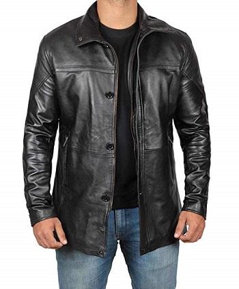 Black Leather Car Coat