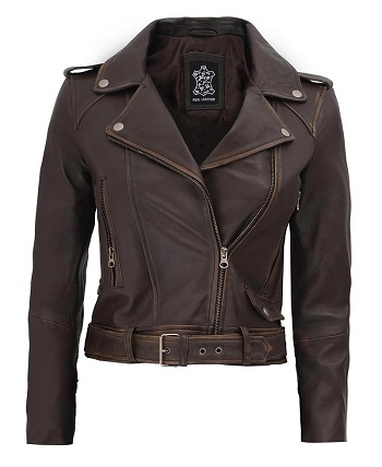 Cropped Leather Jacket Dark Brown