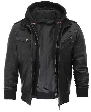 Hooded Leather Jacket Black