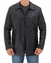 Black Mens Genuine Leather Jacket