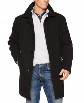 Long Charcoal Wool Coat Mens