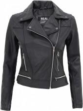 Quilted Shoulder Leather Jacket