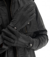 Black Genuine Leather Gloves
