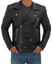 Belted Black Leather Jacket