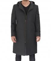 Grey Hooded Wool Coat
