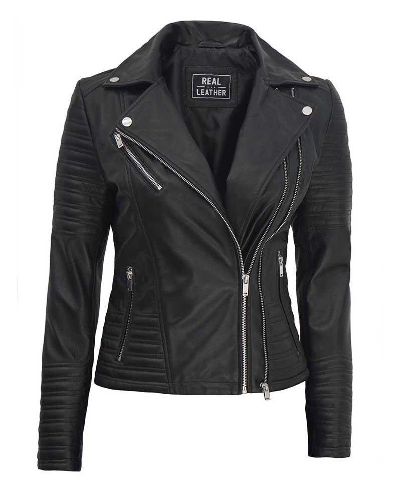 Womens Black Asymmetrical Biker Leather Jacket