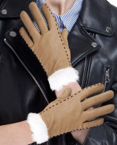 Tan Brown Leather Gloves