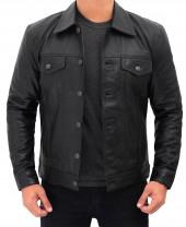 Black Leather Trucker Jacket