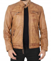 Mens Brown Quilted Leather jacket