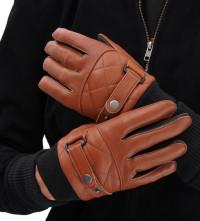 Tan Brown Genuine Leather Gloves