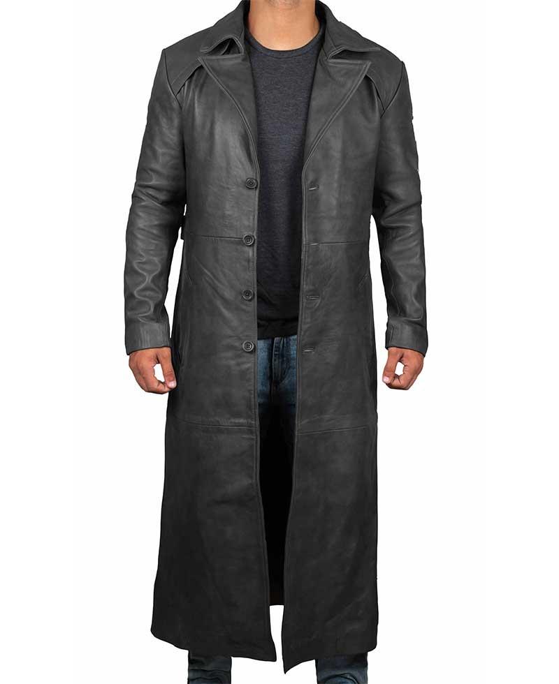 Jackson Mens Black Trench Full Length Leather Coat