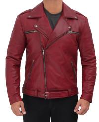 maroon leather jacket