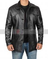 Mens Leather Black Carcoat