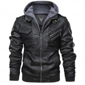 Black Leather Jacket with Hood Mens