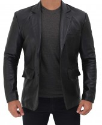 Black Leather Jacket Blazer