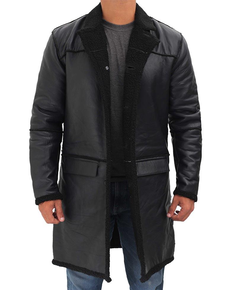 Black Shearling Coat Mens Long, Mens Long Black Winter Coats