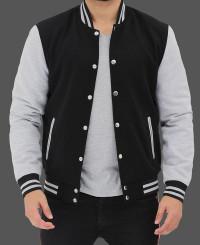 Grey and Black Baseball Jacket