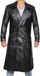 black leather long coat for men