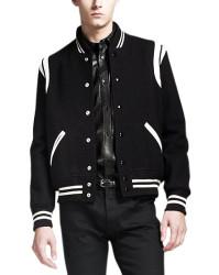 Mens Black Letterman Jacket With White Detailing
