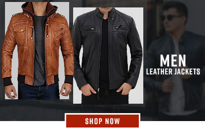 Faux, Genuine Leather Creative Mens Motobike Biker Style 6 Quilted Genuine Leather Umber Brown Jacket