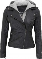 Womens Leather Jacket with Sweatshirt Hood