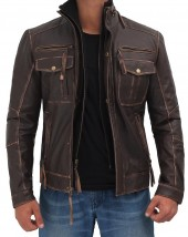 mens brown biker distressed leather jacket