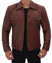 Brown Leather Trucker Jacket