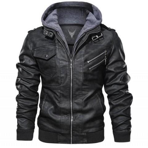 Bomber Hooded Black Leather Jacket