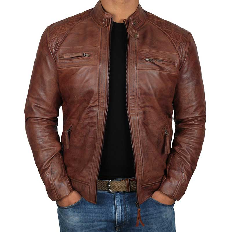 af3556c72b Distressed Brown Leather Jacket Mens (31% OFF)