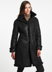 Shearling Leather Coat Black