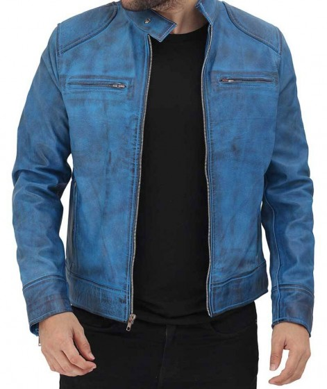 Mens sky blue leather jacket